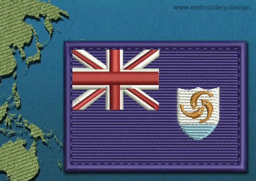 This Flag of Anguilla Rectangle with a Colour Coded border design was digitized and embroidered by www.embroidery.design.