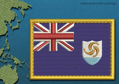 This Flag of Anguilla Rectangle with a Gold border design was digitized and embroidered by www.embroidery.design.