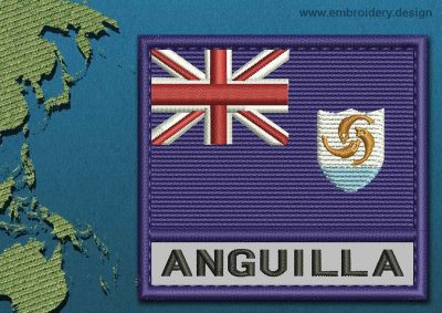 This Flag of Anguilla Text with a Colour Coded border design was digitized and embroidered by www.embroidery.design.
