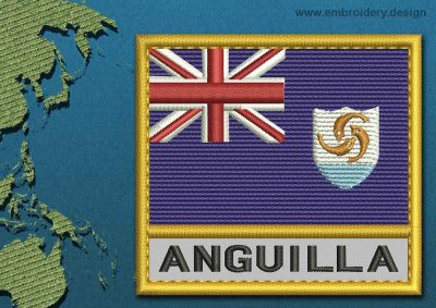 This Flag of Anguilla Text with a Gold border design was digitized and embroidered by www.embroidery.design.