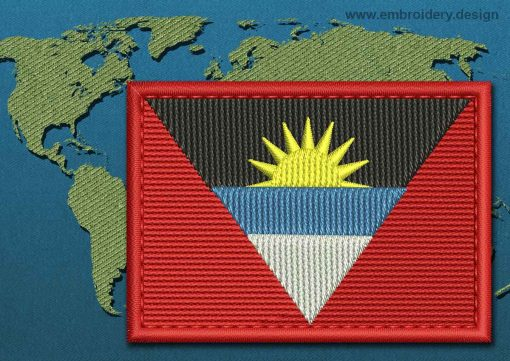 This Flag of Antigua and Barbuda Rectangle with a Colour Coded border design was digitized and embroidered by www.embroidery.design.