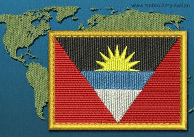 This Flag of Antigua and Barbuda Rectangle with a Gold border design was digitized and embroidered by www.embroidery.design.