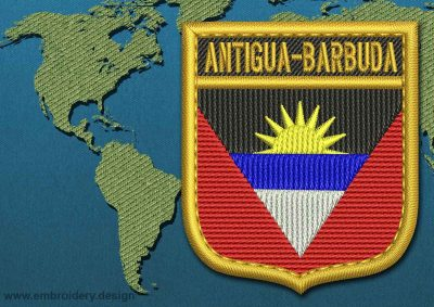 This Flag of Antigua and Barbuda Shield with a Gold border design was digitized and embroidered by www.embroidery.design.