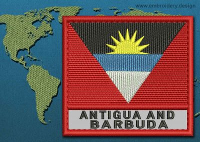 This Flag of Antigua and Barbuda Text with a Colour Coded border design was digitized and embroidered by www.embroidery.design.