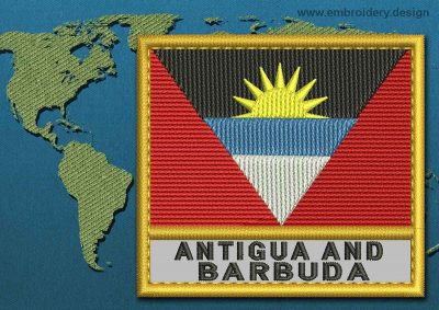 This Flag of Antigua and Barbuda Text with a Gold border design was digitized and embroidered by www.embroidery.design.
