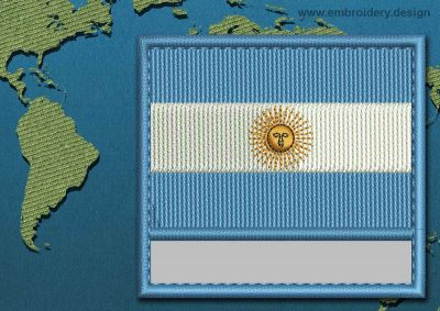 This Flag of Argentina Customizable Text  with a Colour Coded border design was digitized and embroidered by www.embroidery.design.