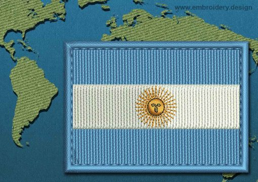This Flag of Argentina Rectangle with a Colour Coded border design was digitized and embroidered by www.embroidery.design.