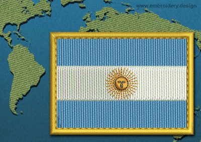 This Flag of Argentina Rectangle with a Gold border design was digitized and embroidered by www.embroidery.design.