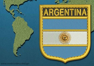 This Flag of Argentina Shield with a Gold border design was digitized and embroidered by www.embroidery.design.
