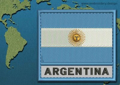 This Flag of Argentina Text with a Colour Coded border design was digitized and embroidered by www.embroidery.design.