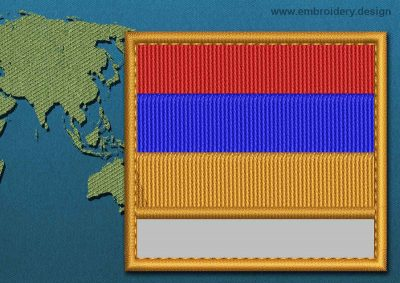 This Flag of Armenia Customizable Text  with a Colour Coded border design was digitized and embroidered by www.embroidery.design.