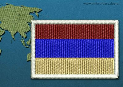 This Flag of Armenia Mini with a Colour Coded border design was digitized and embroidered by www.embroidery.design.