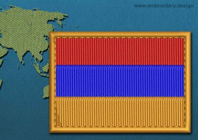 This Flag of Armenia Rectangle with a Colour Coded border design was digitized and embroidered by www.embroidery.design.