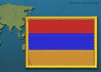 This Flag of Armenia Rectangle with a Gold border design was digitized and embroidered by www.embroidery.design.
