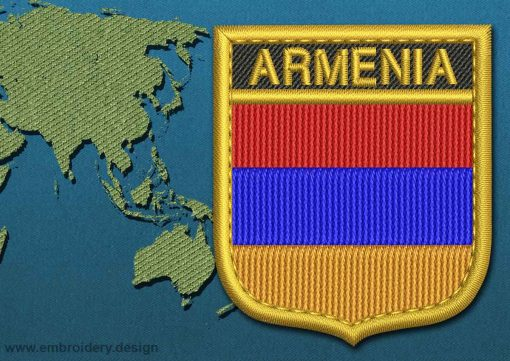This Flag of Armenia Shield with a Gold border design was digitized and embroidered by www.embroidery.design.