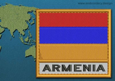 This Flag of Armenia Text with a Colour Coded border design was digitized and embroidered by www.embroidery.design.
