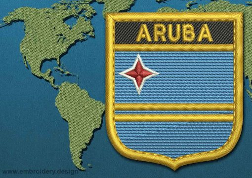 This Flag of Aruba Shield with a Gold border design was digitized and embroidered by www.embroidery.design.