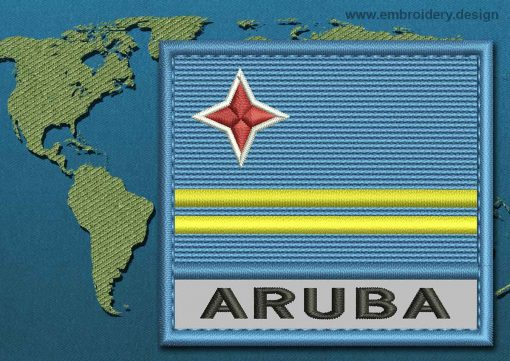 This Flag of Aruba Text with a Colour Coded border design was digitized and embroidered by www.embroidery.design.