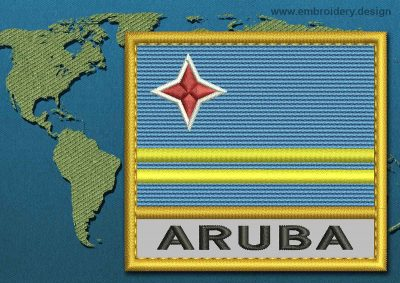 This Flag of Aruba Text with a Gold border design was digitized and embroidered by www.embroidery.design.
