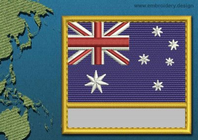This Flag of Ashmore and Cartier Islands Customizable Text  with a Gold border design was digitized and embroidered by www.embroidery.design.