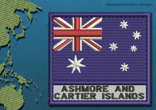 This Flag of Ashmore and Cartier Islands Text with a Colour Coded border design was digitized and embroidered by www.embroidery.design.