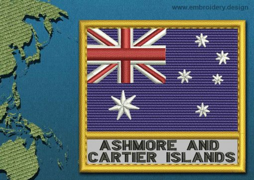 This Flag of Ashmore and Cartier Islands Text with a Gold border design was digitized and embroidered by www.embroidery.design.