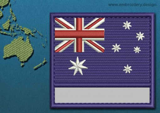 This Flag of Australia Customizable Text  with a Colour Coded border design was digitized and embroidered by www.embroidery.design.