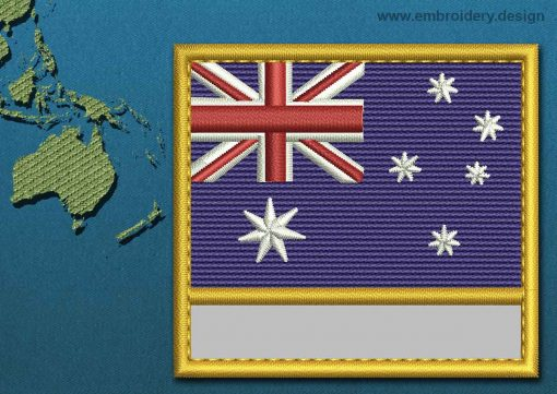 This Flag of Australia Customizable Text  with a Gold border design was digitized and embroidered by www.embroidery.design.