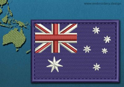 This Flag of Australia Rectangle with a Colour Coded border design was digitized and embroidered by www.embroidery.design.