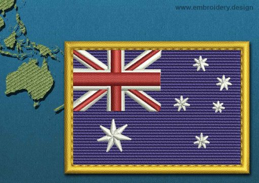 This Flag of Australia Rectangle with a Gold border design was digitized and embroidered by www.embroidery.design.