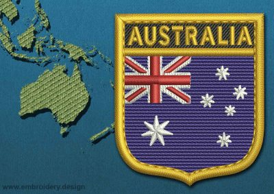 This Flag of Australia Shield with a Gold border design was digitized and embroidered by www.embroidery.design.