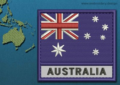 This Flag of Australia Text with a Colour Coded border design was digitized and embroidered by www.embroidery.design.