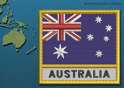 This Flag of Australia Text with a Gold border design was digitized and embroidered by www.embroidery.design.