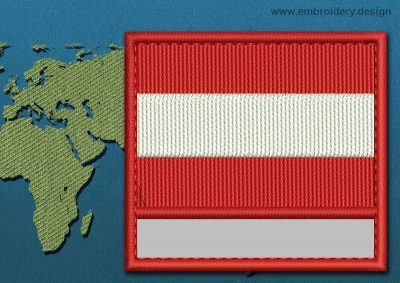 This Flag of Austria Customizable Text  with a Colour Coded border design was digitized and embroidered by www.embroidery.design.