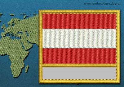 This Flag of Austria Customizable Text  with a Gold border design was digitized and embroidered by www.embroidery.design.