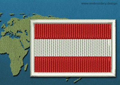 This Flag of Austria Mini with a Colour Coded border design was digitized and embroidered by www.embroidery.design.