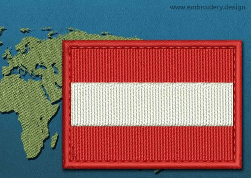 This Flag of Austria Rectangle with a Colour Coded border design was digitized and embroidered by www.embroidery.design.