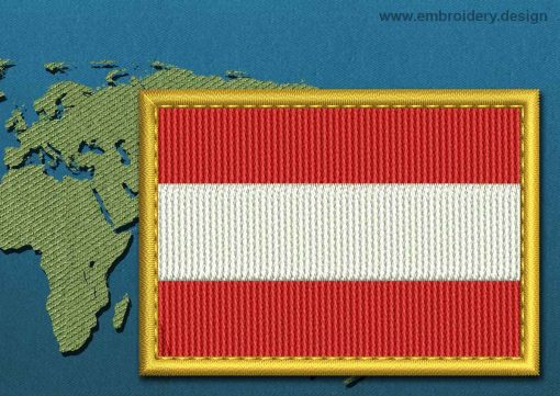 This Flag of Austria Rectangle with a Gold border design was digitized and embroidered by www.embroidery.design.
