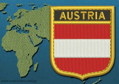 This Flag of Austria Shield with a Gold border design was digitized and embroidered by www.embroidery.design.