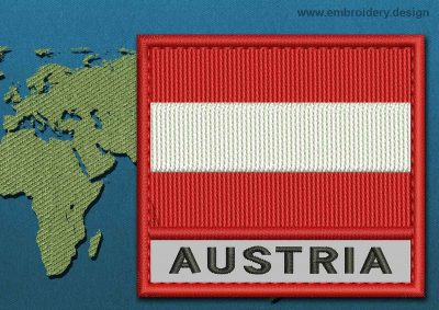 This Flag of Austria Text with a Colour Coded border design was digitized and embroidered by www.embroidery.design.