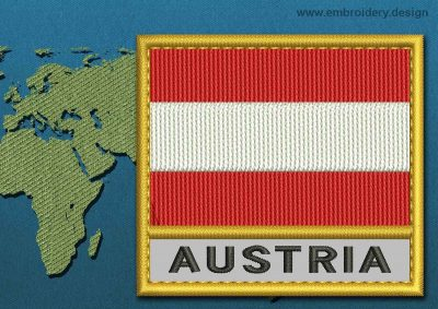 This Flag of Austria Text with a Gold border design was digitized and embroidered by www.embroidery.design.