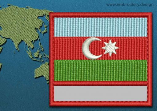 This Flag of Azerbaijan Customizable Text  with a Colour Coded border design was digitized and embroidered by www.embroidery.design.