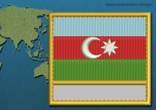 This Flag of Azerbaijan Customizable Text  with a Gold border design was digitized and embroidered by www.embroidery.design.