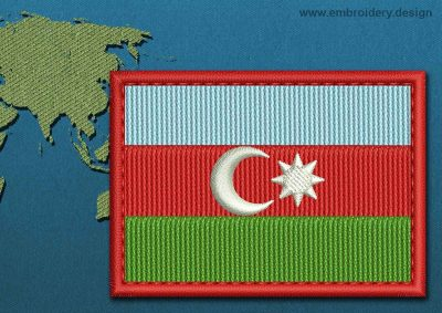 This Flag of Azerbaijan Rectangle with a Colour Coded border design was digitized and embroidered by www.embroidery.design.