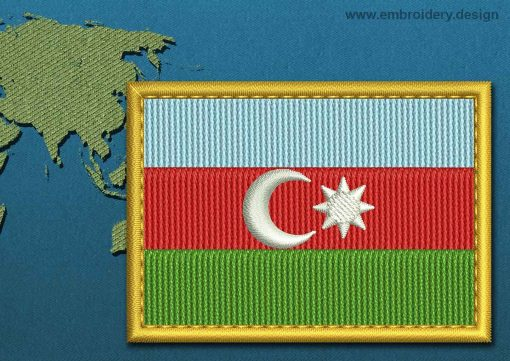 This Flag of Azerbaijan Rectangle with a Gold border design was digitized and embroidered by www.embroidery.design.