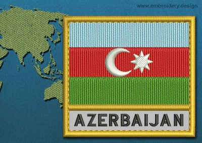 This Flag of Azerbaijan Text with a Gold border design was digitized and embroidered by www.embroidery.design.
