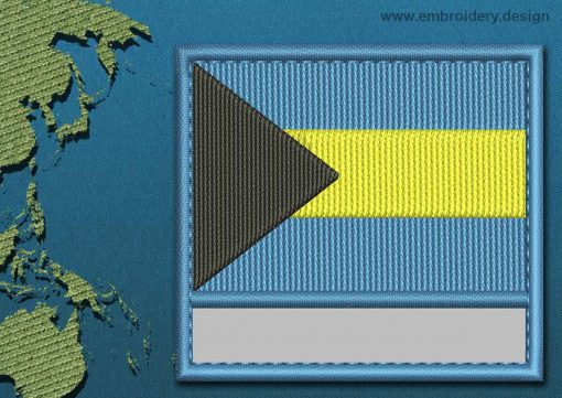 This Flag of Bahamas Customizable Text  with a Colour Coded border design was digitized and embroidered by www.embroidery.design.
