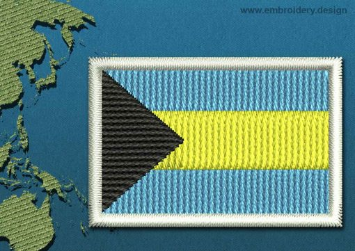 This Flag of Bahamas Mini with a Colour Coded border design was digitized and embroidered by www.embroidery.design.