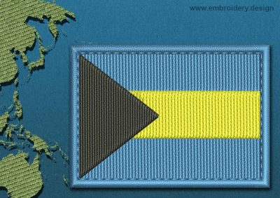 This Flag of Bahamas Rectangle with a Colour Coded border design was digitized and embroidered by www.embroidery.design.