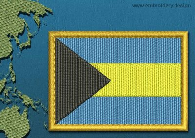 This Flag of Bahamas Rectangle with a Gold border design was digitized and embroidered by www.embroidery.design.
